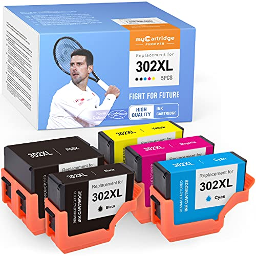 myCatrtidge PHOEVER Remanufactured Ink Cartridge Replacement for Epson 302XL 302 XL T302XL Ink for Expression Premium XP-6000 XP-6100 (1 Black, 1 Photo Black, 1 Cyan, 1 Magenta, 1 Yellow, 5-Pack)