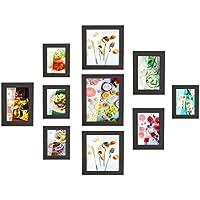 MVPower Set de 10 marcos de fotos con cubierta de cristal fotográfico Collage de fotos de 4 PCS 10 * 15 cm 3 PCS, 13 * 18cm 2 PCS,20 * 20cm 1 PCS, 20 * 25 cm decoración de la casa del póster (negro)