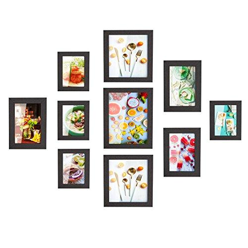MVPower Set de 10 marcos de fotos Multiples para Pared, con Diferentes Tamaños de PDF, Decoración para Salón, Dormiorio, Pasillo, Regalo para la Navidad y el Año Nuevo(Negro)