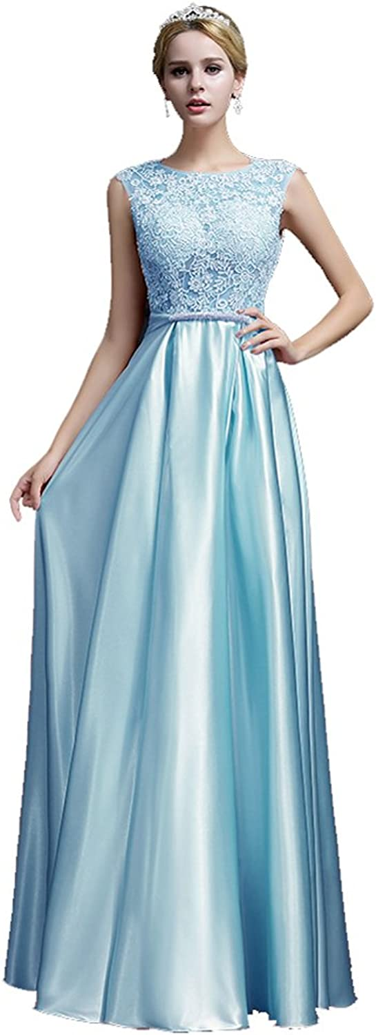 BeautyEmily Womens Long Formal Evening Dresses Appliques Prom Party Cocktail Wedding Guest Gowns Baby bluee US18 Plus Size
