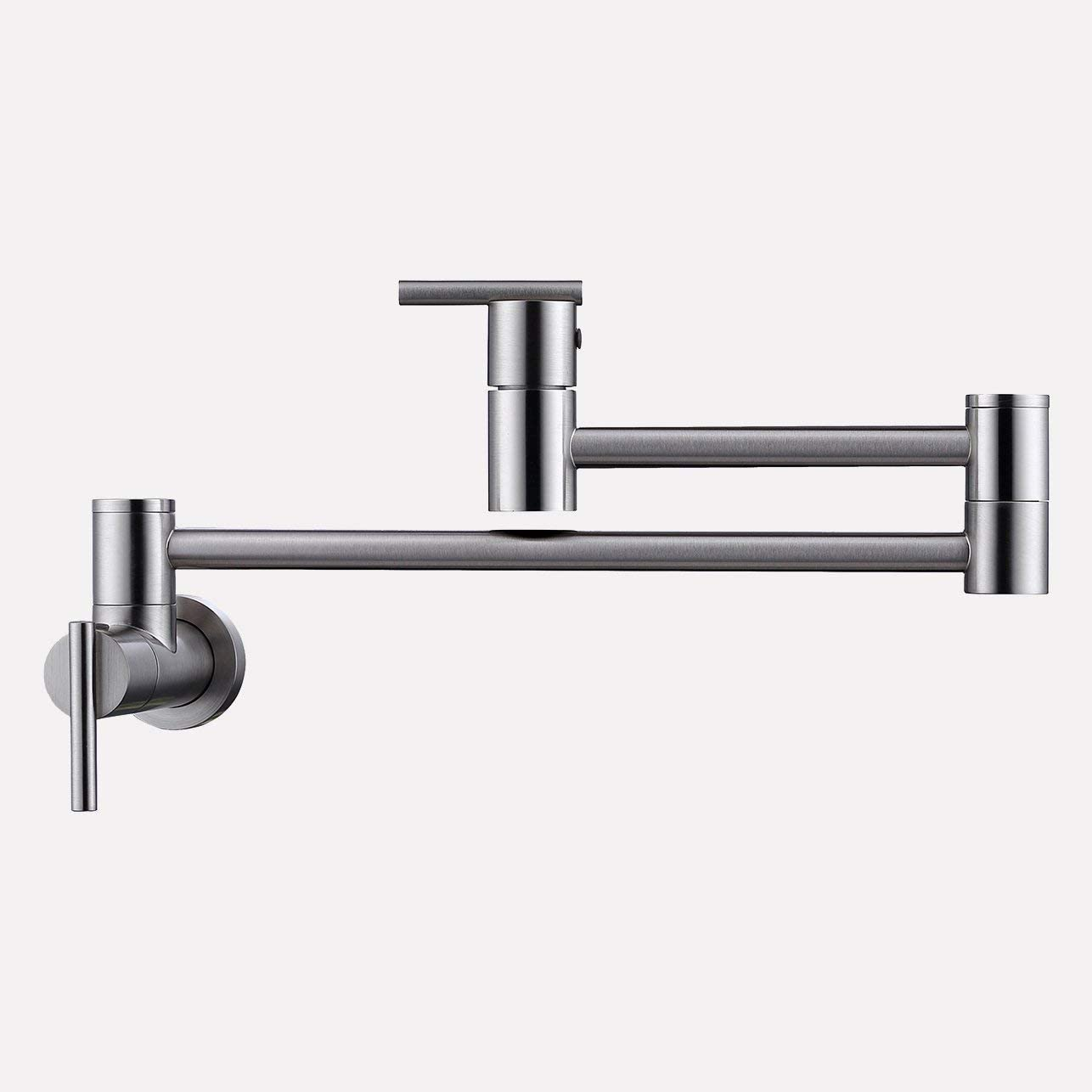 Magnus Home Products Hinshaw Retractable Wall-Mount Pot Filler Faucet Brushed Nickel 5.0 lb