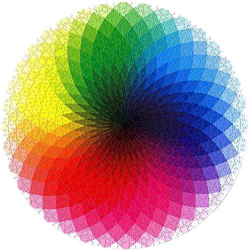 Nikgic. Farbverlauf Regenbogen Puzzlespiele 1000 Stück zum Erwachsene Kinder 6 Jahre und älter Runden Karton Puzzles Spaß pädagogisch Spiel Geschenk zum Jungen Mädchen Geburtstag Party Weihnachten