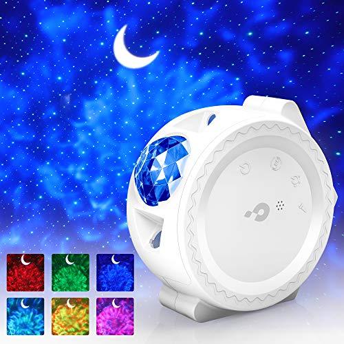 Sternenhimmel Projektor LED【WIFI Smart】Galaxy Projektor Lampe mit Timer/APP/Voice Kontrolle Bunt 3 in1 Starry Stern Mond Ozeanwellen Sternenhimmel Lampe für Kinder Party Weihnachten Geschenk