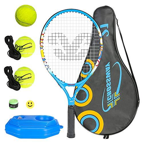 Allnice Juego de raqueta de tenis 5 en 1 para niños, de aluminio, de 53 cm, para niños y niñas, con 3 pelotas de tenis, entrenador de tenis, para niños de 4 a 6 años, con bolsa de hombro
