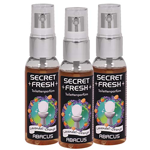 SECRET FRESH 3x 50 ml Toilettenparfüm Lavendel-Orange (7399) - WC-Parfüm Toilettenspray Geruchsstopper Gestank-Blocker Raumspray Duftspray ToGo-Spray - ABACUS