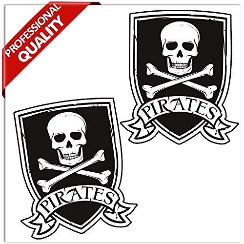 SkinoEu® 2 stuks vinyl sticker autosticker sticker piratenvlag schedel en botten auto Moto Motorfiets raam deur tuning B 243