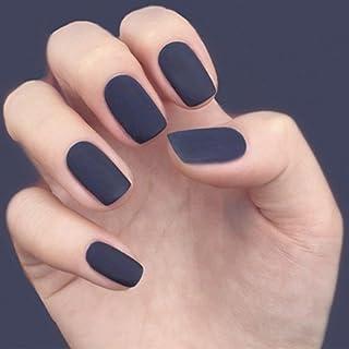 Jozape Matte Press on Nails Blue Short Square Fake Nails Artificial Full Cover False Nails for Women and Girls(24Pcs)