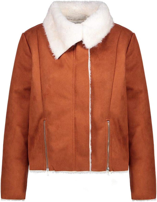 Coat Women's Fashion Zipper Long Sleeve Faux Fur Wool Jacket Autumn Winter Short Outerwear