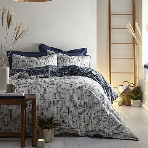 Appletree Loft - Matches - Relaxed Cotton Duvet Cover Set - Double Bed Size in Ink Blue