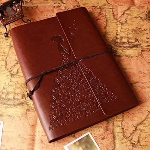 SFGH Un álbum de Fotos con Caja de Regalo, Libro de Recuerdos de la Vendimia de la PU del Cuero DIY Libro de Recuerdos con 60 páginas en Negro