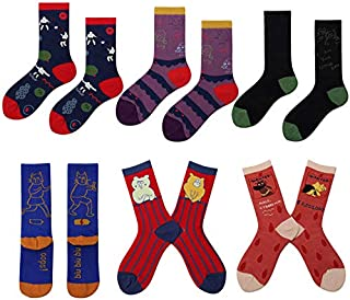 Medium Tube Cotton Socks Cute Cartoon Animal Pattern Novelty Socks For Womens 6 pairs
