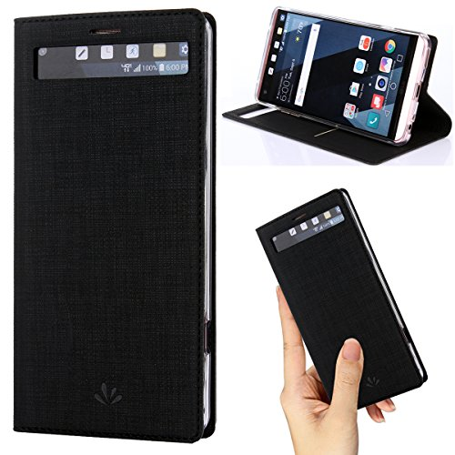 LG V20 case Premium Leather PU Flip Wallet Case with View Window Stand Kickstand Card Holder Magnetic Closure TPU Bumper Full Cover Slim Leather Case for LG V20Black