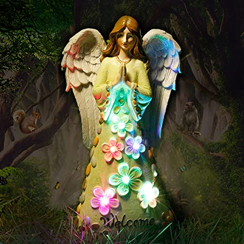 Viewsun Solar Angel Garden Statues, Solar Angel Sculpture Figurines Outdoor Decor Yard Art with 6 Color Changing LEDs for Outside Patio, Lawn, Cemetery Grave Decorations, Sympathy/Housewarming Gift