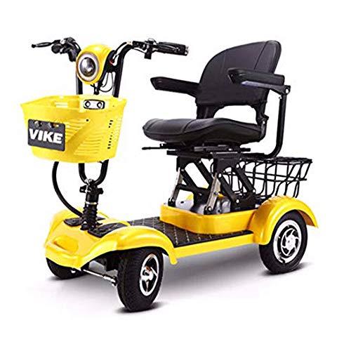 Qfzfei Plegable Scooter Eléctrico Triciclo Adulto, eléctrico de 4 ruedas, Ajuste 3 Velocidades, Desmontable Batteria Litio, Motores Duales300w, Discapacitados, Adultos, Minusválidos, Anciano Yellow- 3