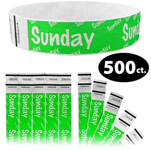 Originale Tyvek Wristbands 500 count Days of the week- nero, arancione, oro, viola, rosso, blu, verde #50-sunday