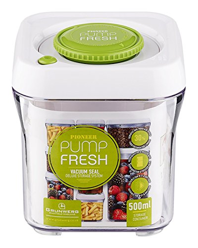 Pioneer Pump Fresh Vakuum Seal Kanister Food Storage Tupperware Box, Plastik, weiß/grün, 500 ml