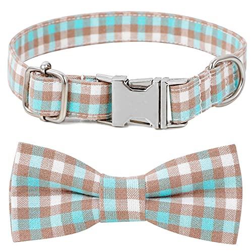 ZZCR Collar De Perro Mascota Insertar Hebilla Collar Celosía Collar De Mascota Collar De Perro Collar Ajustable De Varios Tamaños Cuadrícula Amarilla Y Azul S