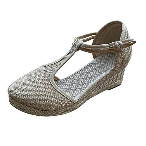 Sandalias Mujer Cuña Plataforma Playa Gladiador Verano Tacon Planas Zapatos Señoras Cuñas Verano Tobillo Correas Sandalias
