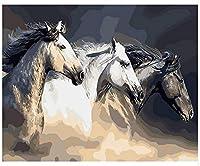 大人と子供のための数字でペイント 砂の馬 Diyの油絵ブラシでキャンバスを描く数字で描く装飾装飾祭ギフト-16x20インチフレーム付き