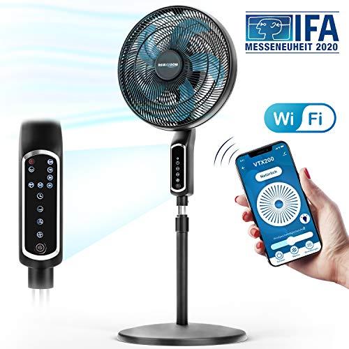 2in1 Standventilator 55 W extrem leise 43 dB| LED Touch Display + Tisch-Ventilator mit Fernbedienung| VTX200 mit 60° Oszillation & Neigung | RelaxxNow App, Amazon Alexa & Google Assistant kompatibel