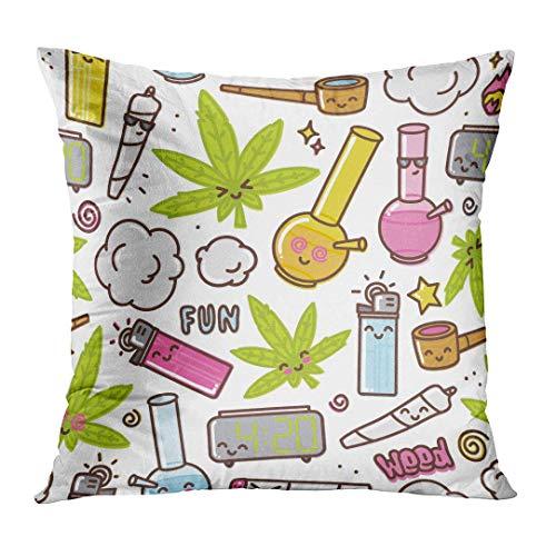 Jbralid Green Weed Marijuana Kawaii Cartoon White Cannabis Smoke Leaf Bong Pot Pillow Cover Hidden Zipper Cotton Indoor Throw Pillow Case Cushion 26x26 in
