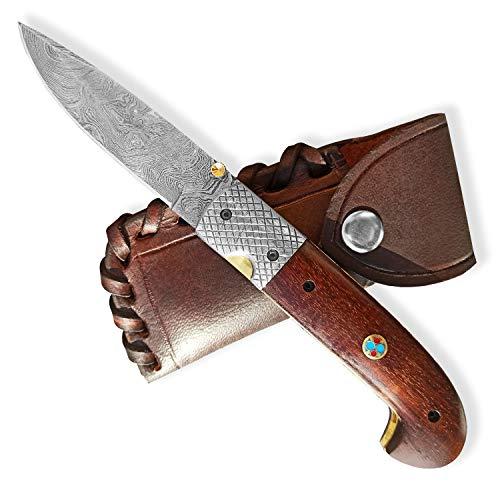 Dellinger SISO Sentinell & Damast Taschenmesser & Klappmesser & Damaststahl Messer & Outdoor Damastmesser Folder Knife 9,5cm Klinge
