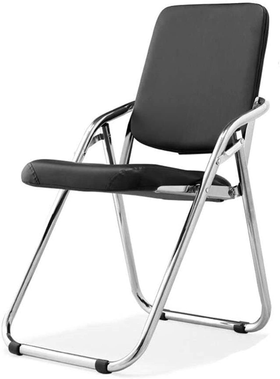 FENGFAN Folding Chairs Visitor Conference Steel Leather Comfort Guest Chairs Cantilever Frame Padded Seat and Back Rest (color   Black)