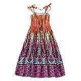 Minuya Vestido niña, Verano Correas sin Mangas de algodón/Estilo Bohemio Vestidos de Playa para niñas de 2-12 años