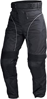 Mens Motorcycle Biker Waterproof, Windproof Riding Pants Black with Removable CE Armor PT1 (L)