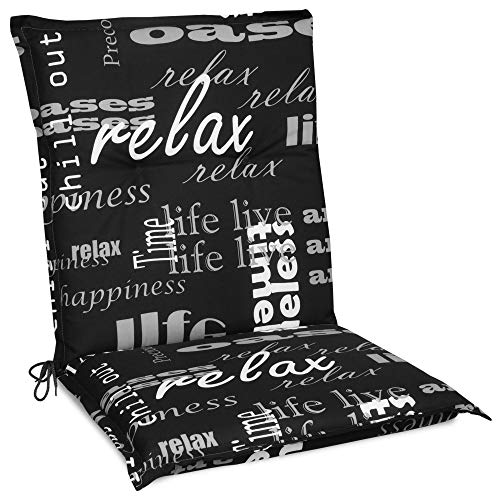 Beautissu Cojín para sillas de Exterior y jardín con Respaldo bajo Relax 100x50x6 cm tumbonas, mecedoras, Asientos cómodo Acolchado gomaespuma Resistente a Rayos UV