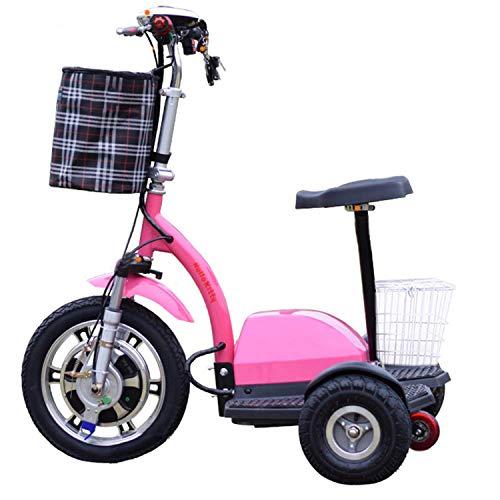 SZ-DDC 3 Räder Folding Mobilität Motorroller für Erwachsene städtischen Freizeit-Scooter Lithium-Batterie Leistungsstarke Motor,Rosa