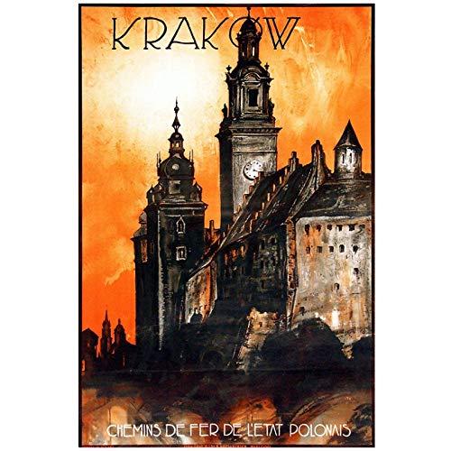 Polska turystyka plakaty podróżnicze Kraków klasyczne obrazy ścienne na płótnie dekoracyjny plakat w stylu vintage wystrój baru domu prezent-24x36in bez ramki