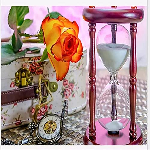 Kits de pintura de diamantes DIY 5D Reloj de arena de rosa amarilla 100x100cm DIY completo taladro diamond paintingbordado punto de cruz cuadros manualidades para Salones dormitorios decoración