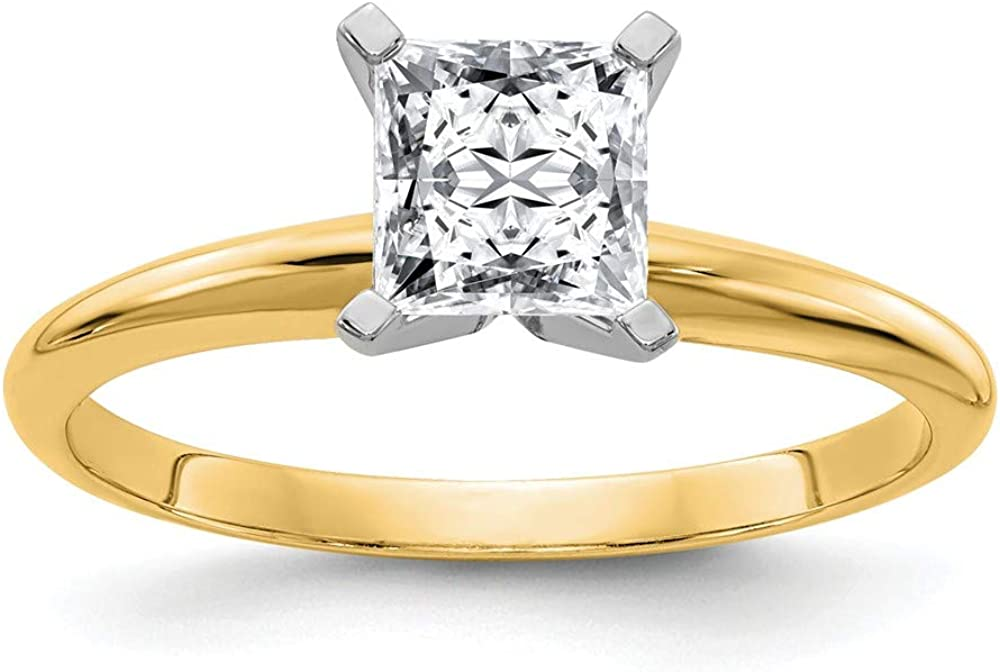 14k Yellow Gold 2 1/2ct. D E F Pure Princess Moissanite Solitaire Band Ring Engagement Gsh Gshx Fine Jewelry For Women Gifts For Her