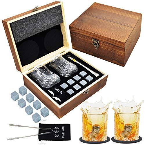 Jeasona Whisky Geschenkset Whiskey Geschenke für Männer Whisky Gläser mit Whisky Stein für Single Malt Whisky Weihnachtsgeschenke für Männer Vatertags Geschenke