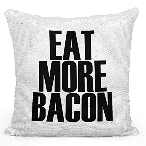 Looms & Linens Sequin Mermaid Throw Pillow Eat More Bacon Pillow 16X16 inch Magic Flip Throw Pillow with Stuffing 1 Piece
