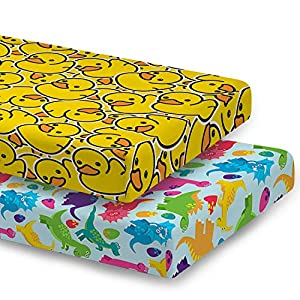 ARIGHTEX 2 Pack Fitted Crib Sheets, Soft Jersey Knit, Breathable and Hypoallergenic Baby Sheet, Duck and Dinosaur, Portable Mattress Topper for Boys Girls, 28″x 52″, Nursery Sheet Fits Standard Size