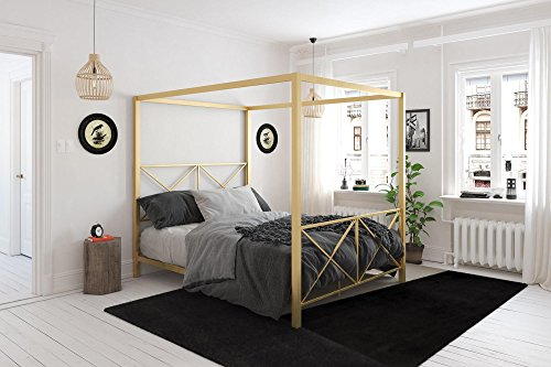 DHP Rosedale Canopy Bed, Gold, Queen