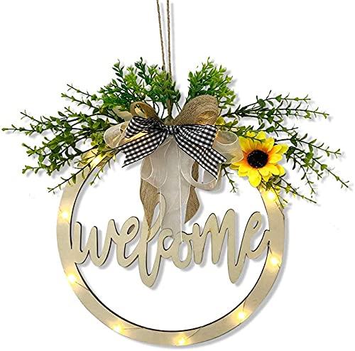 Welkom teken voor voordeur, zonnebloemkransen met kunstmatige plant lint boog, houten holle gesneden outdoor veranda decor daisy welkomstkransen met LED-licht voor thuis tuin bruiloft kerstfeest