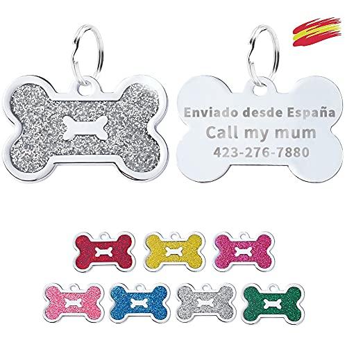 FUSIYU Placa Chapa Medalla, Etiquetas de Identificación de Mascotas Etiquetas de Perro Personalizada Grabado para Collar Perro Gato Mascota Grabada Brillantitos Acero Inoxidable, Hueso,Plata