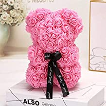 Rose Bear Teddy - Christmas New Year Valentines Mothers Fathers Day Anniversary Best Perfect Unique Handmade Gift Ideas for Lovers Women Men Teen Wife Husband Him Her Wedding Birthday Love 25cm Pink