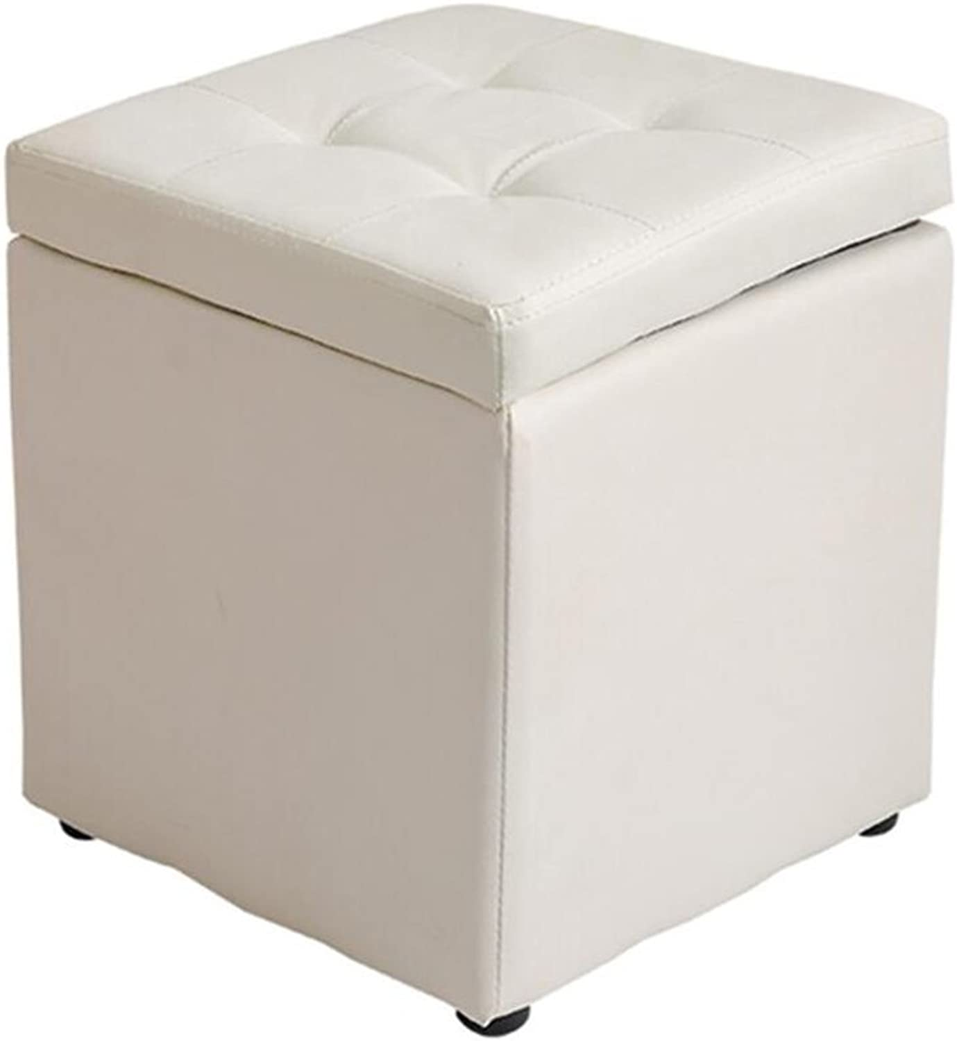 A-Fort DLDL Sofa Stool Solid Wood Leather Stool Fashion Short stool3030  35cm (color   White)