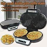 JZH-kitchen 1200W 2 Rebanada Waffle Maker Grande Waffle Maker con Revestimiento Antiadherente Planchas De Hierro Control Automático De Temperatura Acabado De Acero Inoxidable
