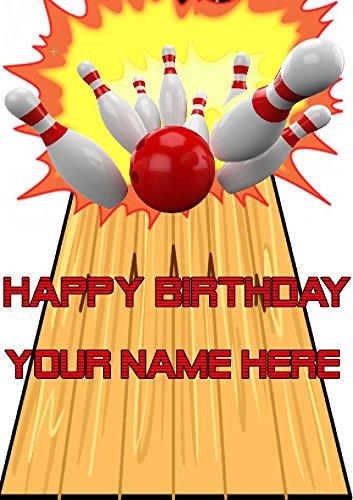 """Gifts For all Geburtstagskarte / Grußkarte mit Bowling-Motiv, cptmi64, personalisierbar, mit Aufschrift""""Happy Birthday"""", A5, aus Derbyshire, Großbritannien"""