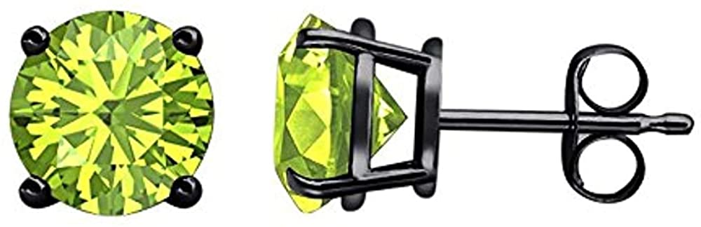 Round Clearance SALE Limited time Cut Created peridot 14K Black 2021 model Sterling Plated Gold Sil 925