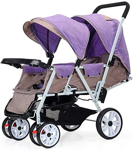 HZYD Poussette Double, Double Tandem Poussette de bébé, 5 Points Ceintures de sécurité, Design Pliable for Easy Transport (Couleur: Rouge) (Couleur: Violet), Couleur: Violet ( Color : Purple )