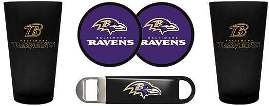 Ravens - Color Frost Pint Glasses, Coasters & Bottle Opener Set | Baltimore Ravens Barware Gift Set