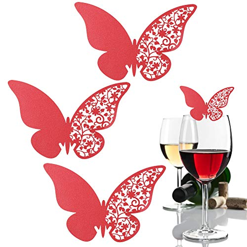 AUNMAS 20Pcs Wedding Guest Table Number Name Place Paper Cards Butterflies Shape Hollow Dinner Party Seating Reception Wine Glass Cup Decor Wall Decal Sticker for Banquets (Red)(2#)