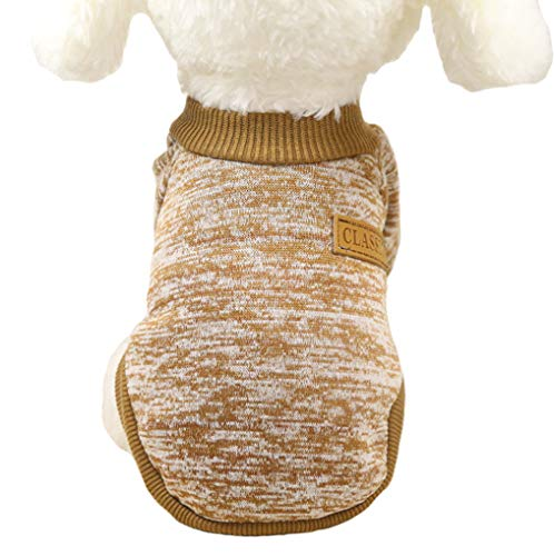 Fashion Focus On Pet Dog Clothes Knitwear Dog Sweater Soft Thickening Warm Pup Dogs Shirt Winter Puppy Sweater for Dogs (XX-Small, Khaki)