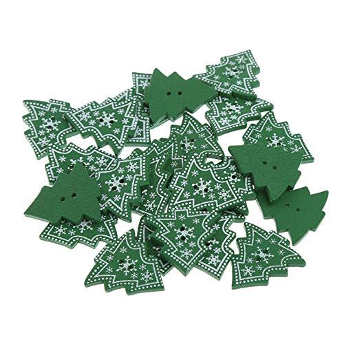 Fugift 25 botones de madera con forma de árbol de Navidad con dos agujeros para costura y manualidades